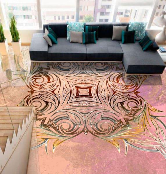 Напольное покрытие с орнаментом СИММЕТРИЧНЫЙ УЗОР на розовом в интерьере зала