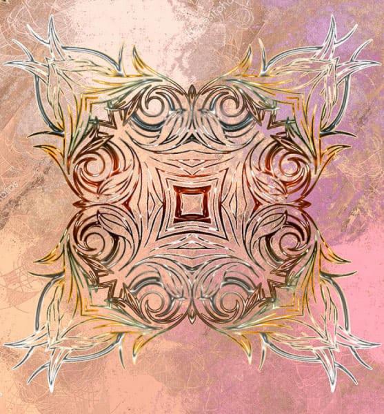 Напольное покрытие с орнаментом СИММЕТРИЧНЫЙ УЗОР на розовом
