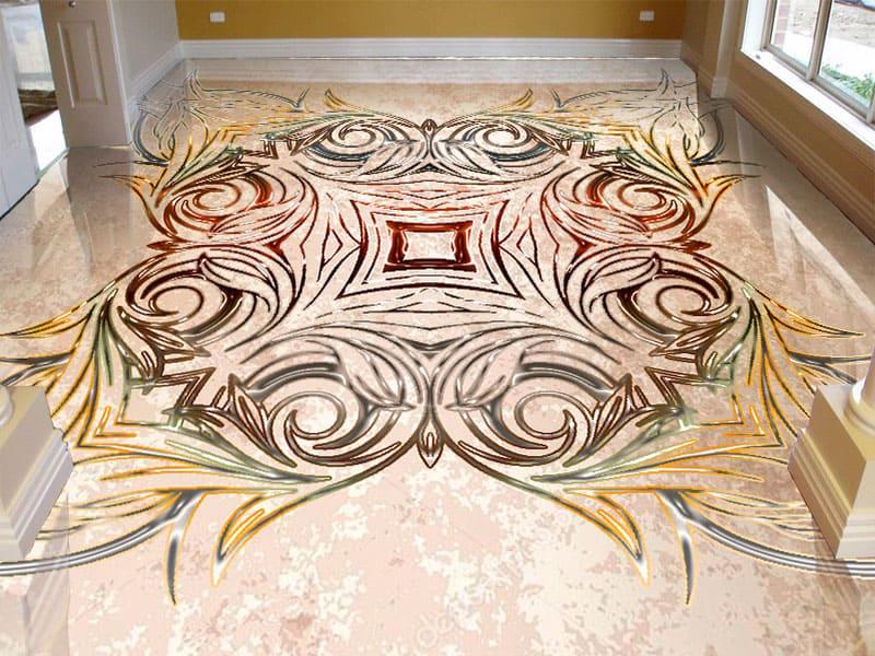 Напольное покрытие с орнаментом СИММЕТРИЧНЫЙ УЗОР в интерьере гостиной