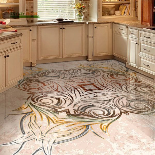 Напольное покрытие с орнаментом СИММЕТРИЧНЫЙ УЗОР в интерьере кухни