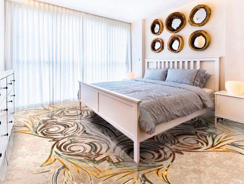 Напольное покрытие с орнаментом СИММЕТРИЧНЫЙ УЗОР в интерьере спальной