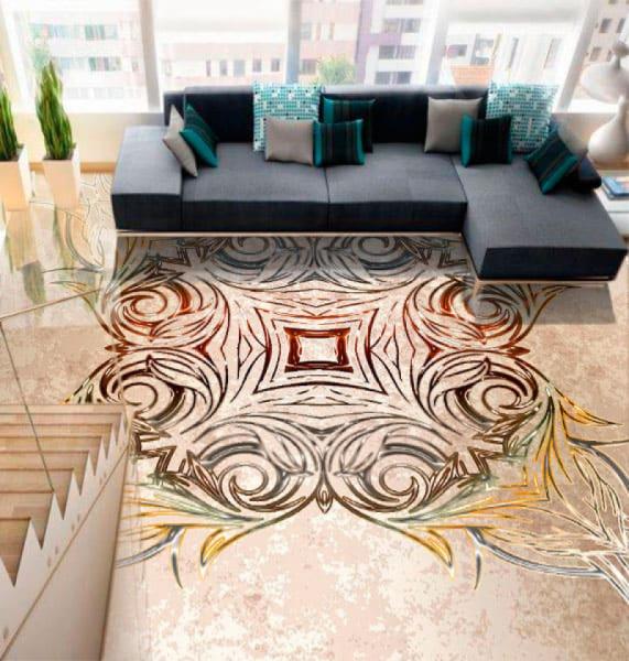 Напольное покрытие с орнаментом СИММЕТРИЧНЫЙ УЗОР в интерьере зала