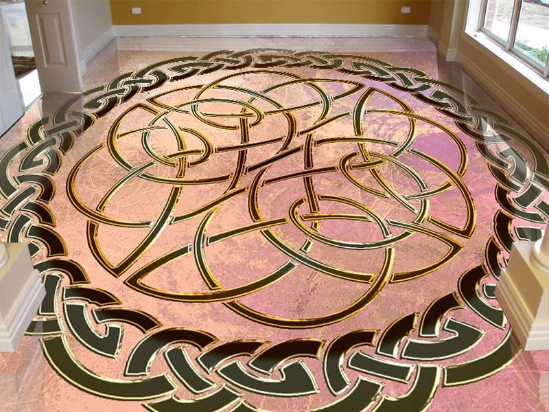 Напольное покрытие с орнаментом КЕЛЬТСКИЙ УЗЕЛ ЗАЩИТЫ в интерьере коридора