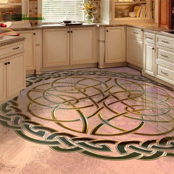 Напольное покрытие с орнаментом КЕЛЬТСКИЙ УЗЕЛ ЗАЩИТЫ в интерьере кухни