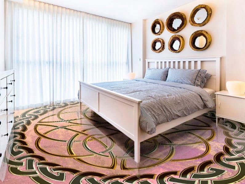 Напольное покрытие с орнаментом КЕЛЬТСКИЙ УЗЕЛ ЗАЩИТЫ в интерьере спальни