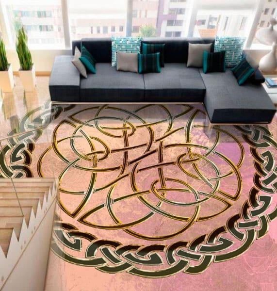 Напольное покрытие с орнаментом КЕЛЬТСКИЙ УЗЕЛ ЗАЩИТЫ в интерьере гостиной