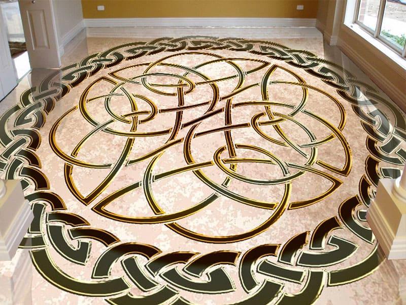 Напольное покрытие с орнаментом КЕЛЬТСКИЙ УЗЕЛ ЗАЩИТЫ беж гранж в интерьере гостиной