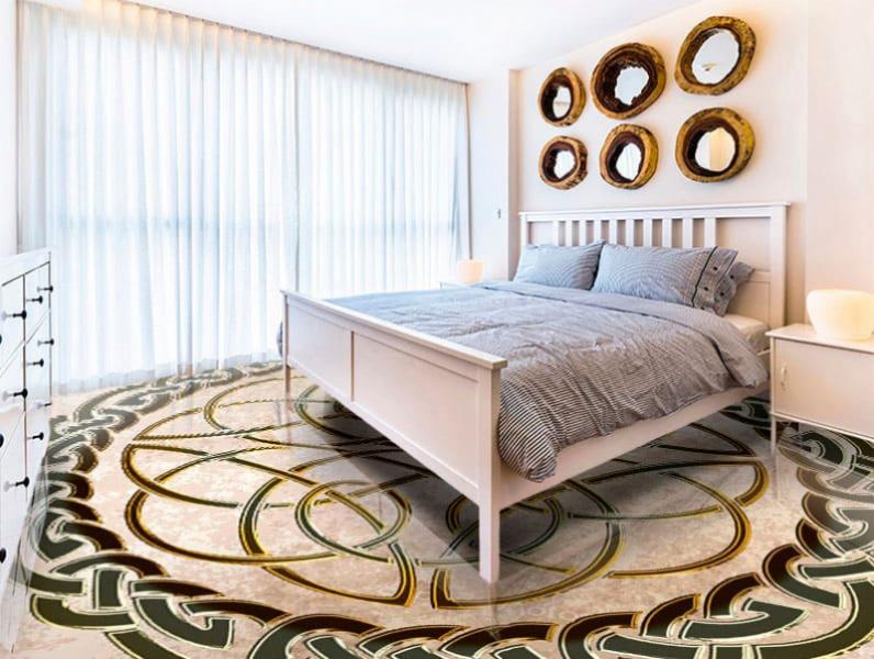 Напольное покрытие с орнаментом КЕЛЬТСКИЙ УЗЕЛ ЗАЩИТЫ беж гранж в интерьере спальни
