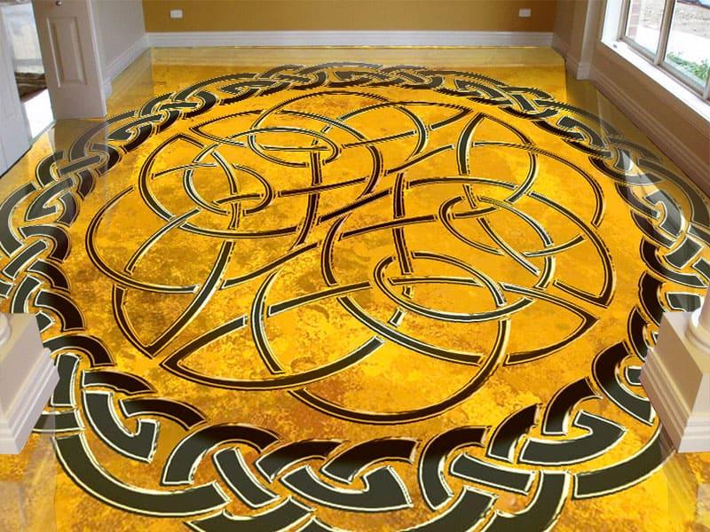 Напольное покрытие с орнаментом КЕЛЬТСКИЙ УЗЕЛ ЗАЩИТЫ на желтом в интерьере гостиной