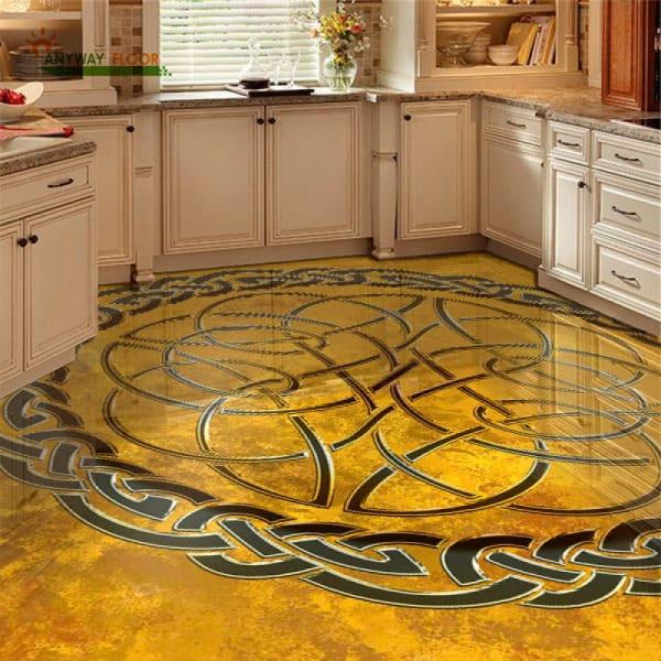 Напольное покрытие с орнаментом КЕЛЬТСКИЙ УЗЕЛ ЗАЩИТЫ на желтом в интерьере кухни