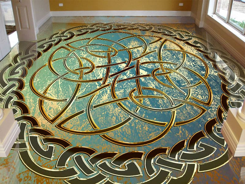 Напольное покрытие с орнаментом КЕЛЬТСКИЙ УЗЕЛ ЗАЩИТЫ гранж в интерьере гостиной