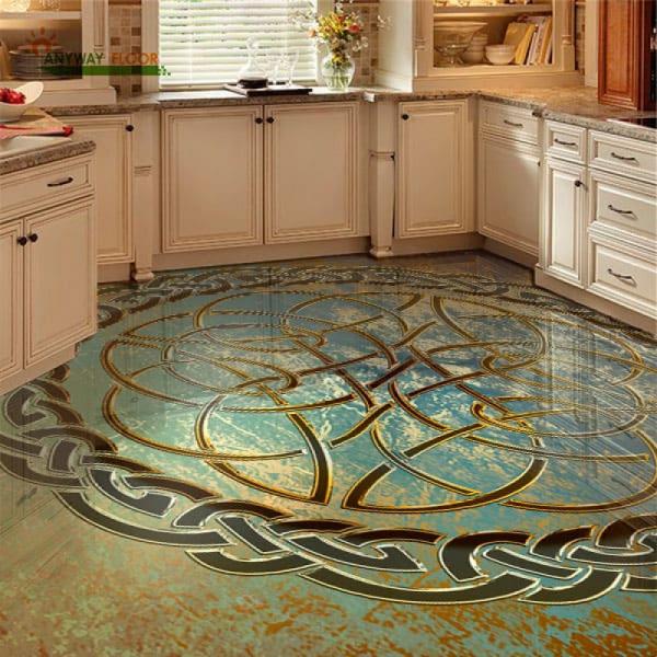 Напольное покрытие с орнаментом КЕЛЬТСКИЙ УЗЕЛ ЗАЩИТЫ гранж в интерьере кухни