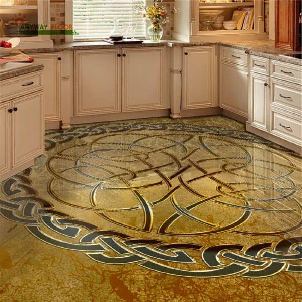 Напольное покрытие с орнаментом КЕЛЬТСКИЙ УЗЕЛ ЗАЩИТЫ золото в интерьере кухни