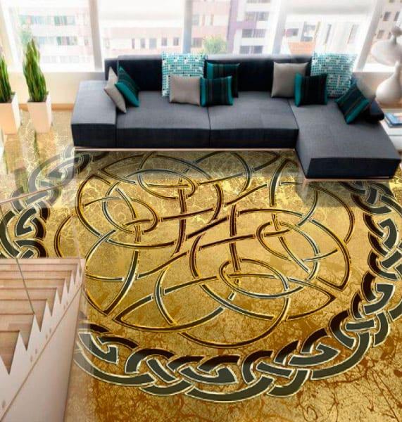 Напольное покрытие с орнаментом КЕЛЬТСКИЙ УЗЕЛ ЗАЩИТЫ золото в интерьере зала