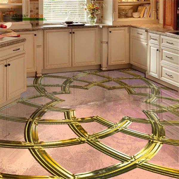 Напольное покрытие с орнаментом ИСЛАМКИЙ УЗОР в интерьере кухни