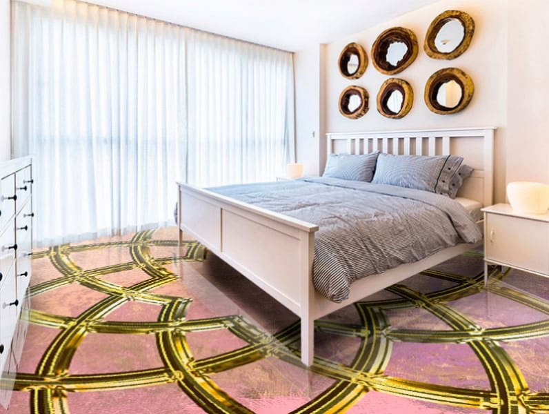 Напольное покрытие с орнаментом ИСЛАМКИЙ УЗОР в интерьере спальни
