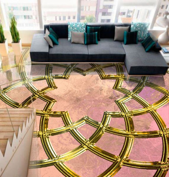 Напольное покрытие с орнаментом ИСЛАМКИЙ УЗОР в интерьере зала