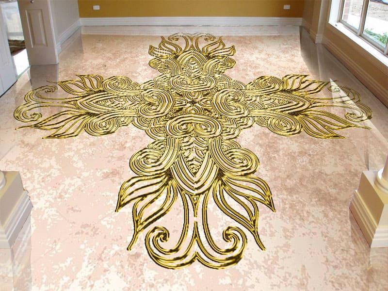 Напольное покрытие с орнаментом КЕЛЬТСКИЙ АМУЛЕТ в интерьере гостиной