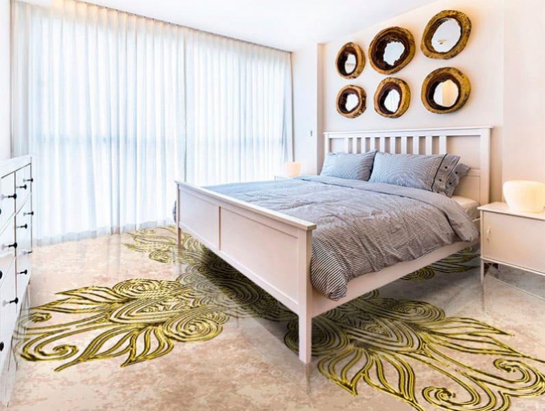 Напольное покрытие с орнаментом КЕЛЬТСКИЙ АМУЛЕТ в интерьере спальни