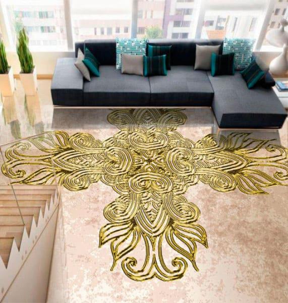 Напольное покрытие с орнаментом КЕЛЬТСКИЙ АМУЛЕТ в интерьере зала