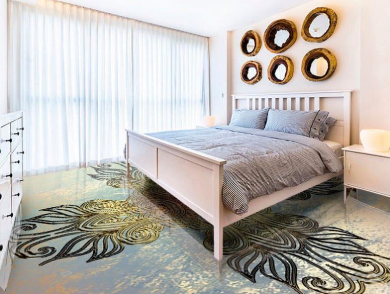Напольное покрытие с орнаментом КЕЛЬТСКИЙ ОБЕРЕГ ГРАНЖ в интерьере спальни