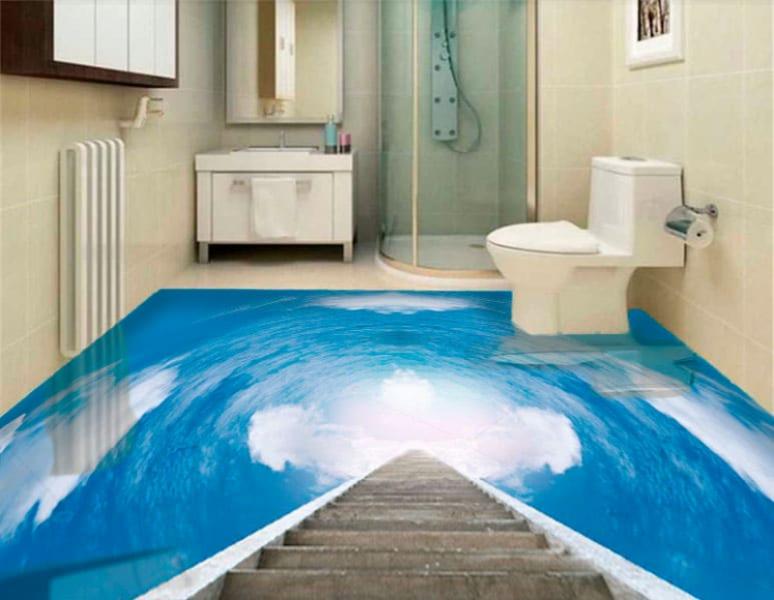 Напольное покрытие с рисунком Обои, Линолеум НЕБО ОБЛАКА ДЕРЕВЯННАЯ ЛЕСТНИЦА в интерьере туалета