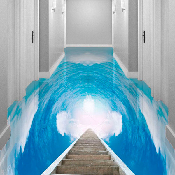 Напольное покрытие с рисунком Обои, Линолеум НЕБО ОБЛАКА ДЕРЕВЯННАЯ ЛЕСТНИЦА в интерьере коридора