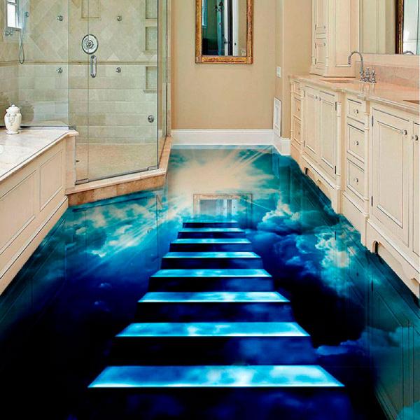 Напольное покрытие с рисунком Обои, Линолеум НОЧНОЕ НЕБО ЛЕСТНИЦА в интерьере ванной комнаты