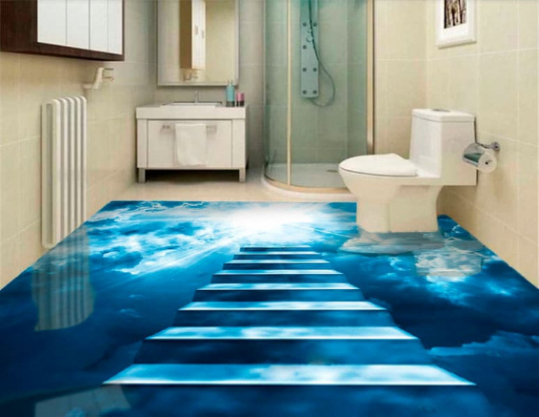 Напольное покрытие с рисунком Обои, Линолеум НОЧНОЕ НЕБО ЛЕСТНИЦА в интерьере туалета