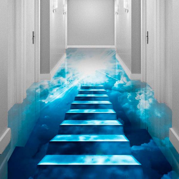 Напольное покрытие с рисунком Обои, Линолеум НОЧНОЕ НЕБО ЛЕСТНИЦА в интерьере коридора