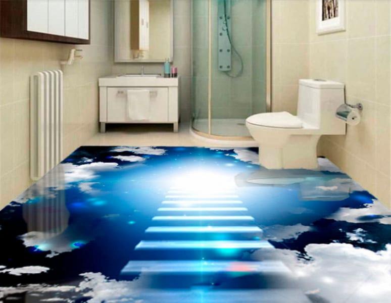Напольное покрытие с рисунком Обои, Линолеум НОЧНОЕ НЕБО ОБЛАКА ЛЕСТНИЦА в интерьере туалета
