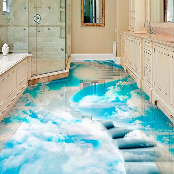 Напольное покрытие с рисунком Обои, Линолеум ВИНТОВАЯ ЛЕСТНИЦА В НЕБО в интерьере ванной