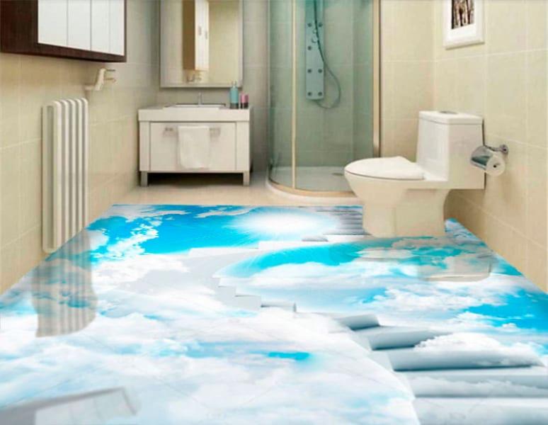 Напольное покрытие с рисунком Обои, Линолеум ВИНТОВАЯ ЛЕСТНИЦА В НЕБО в интерьере туалета