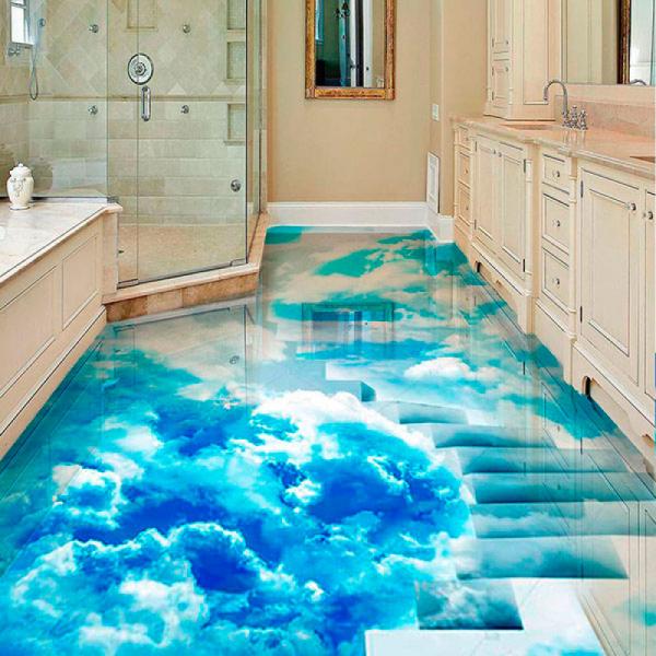 Напольное покрытие с рисунком Обои, Линолеум ЛЕСНИЦА ВМНТОМ ГОЛУБОЕ НЕБО в интерьере ванной