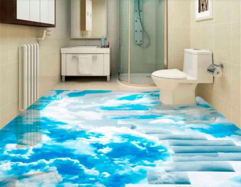 Напольное покрытие с рисунком Обои, Линолеум ЛЕСНИЦА ВМНТОМ ГОЛУБОЕ НЕБО в интерьере туалета