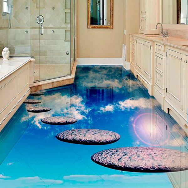 Напольное покрытие с рисунком Обои, Линолеум ДОРОЖКА В НЕБО в интерьере ванной