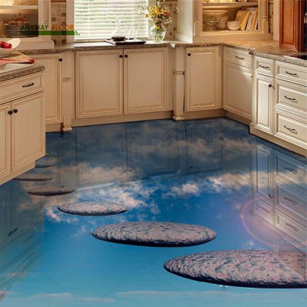 Напольное покрытие с рисунком Обои, Линолеум ДОРОЖКА В НЕБО в интерьере кухни