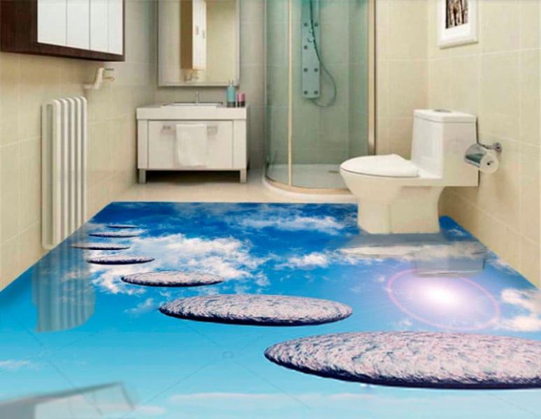 Напольное покрытие с рисунком Обои, Линолеум ДОРОЖКА В НЕБО в интерьере туалета
