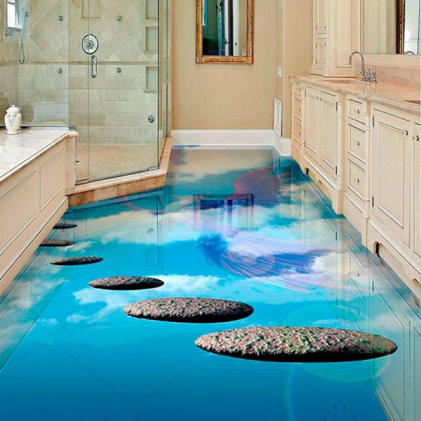 Напольное покрытие с рисунком Обои, Линолеум НЕБО ЖАРПТИЦА в интерьере ванной