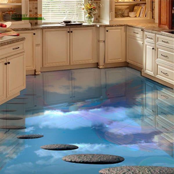 Напольное покрытие с рисунком Обои, Линолеум НЕБО ЖАРПТИЦА в интерьере кухни