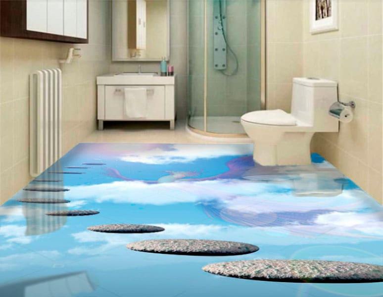 Напольное покрытие с рисунком Обои, Линолеум НЕБО ЖАРПТИЦА в интерьере туалета