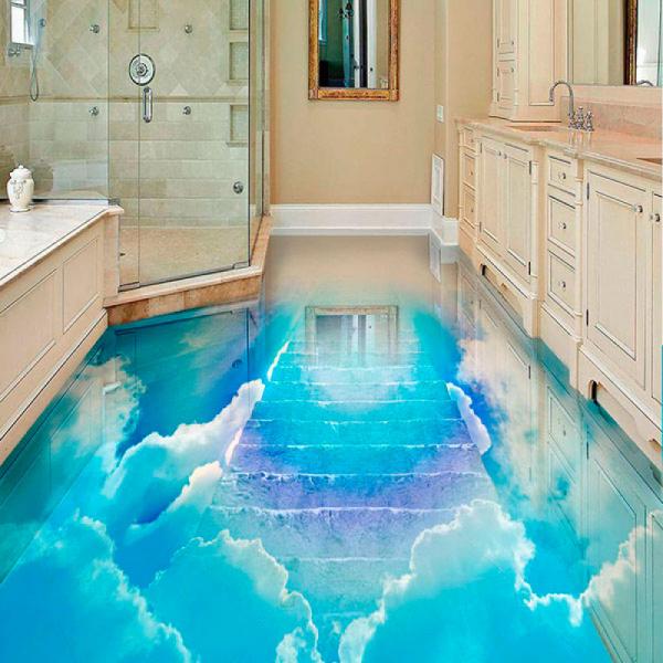 Напольное покрытие с рисунком Обои, Линолеум ГОЛУБОЕ НЕБО ЛЕСТНИЦА в интерьере ванной комнаты