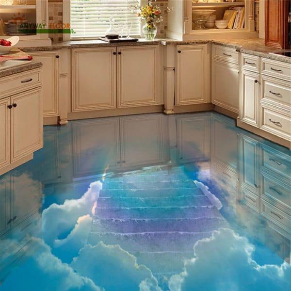 Напольное покрытие с рисунком Обои, Линолеум ГОЛУБОЕ НЕБО ЛЕСТНИЦА в интерьере кухни