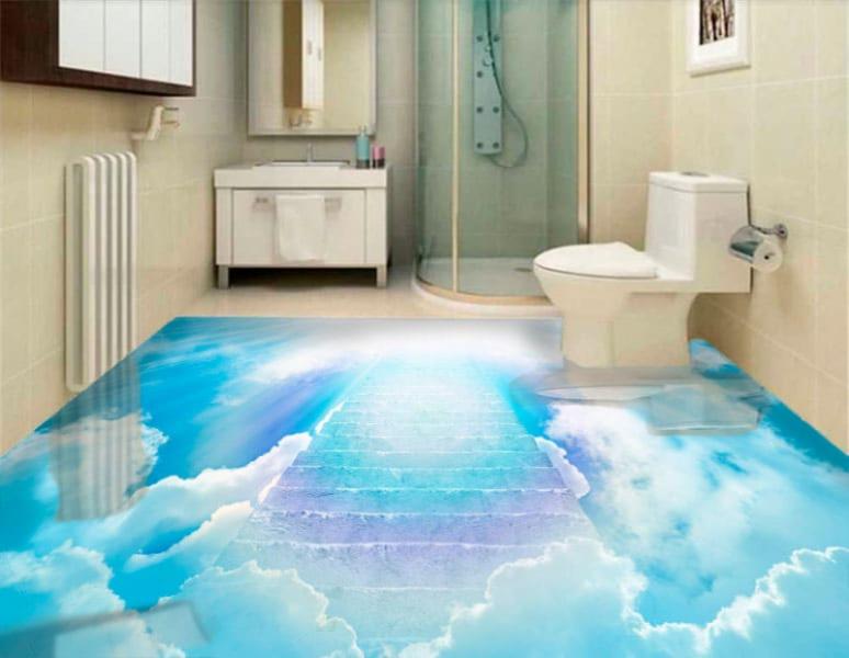 Напольное покрытие с рисунком Обои, Линолеум ГОЛУБОЕ НЕБО ЛЕСТНИЦА в интерьере туалета