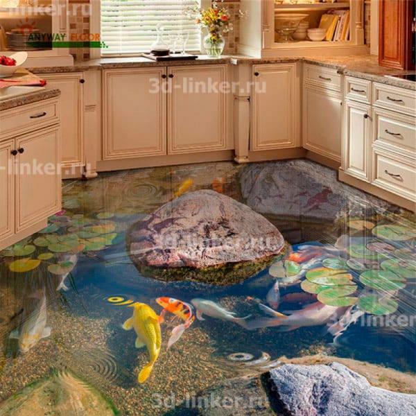 Напольное покрытие с рисунком Обои, Линолеум ПРУД РЫБКИ ЦВЕТЫ РИСУНКИ НА КАМНЯХ в интерьере кухни