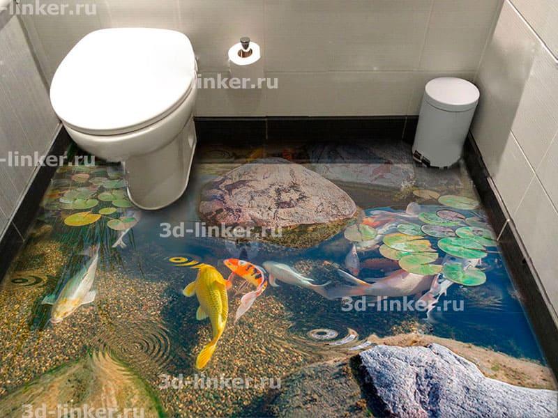 Напольное покрытие с рисунком Обои, Линолеум ПРУД РЫБКИ ЦВЕТЫ РИСУНКИ НА КАМНЯХ в интерьере туалета