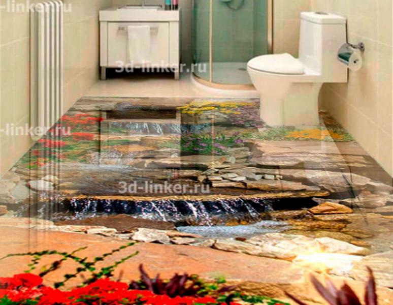 Напольное покрытие с рисунком Обои, Линолеум ВОДОПАД КАСКАД ПО КАМНЯМ ЦВЕТЫ в интерьере туалета