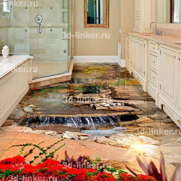 Напольное покрытие с рисунком Обои, Линолеум ВОДОПАД КАСКАД ПО КАМНЯМ ЦВЕТЫ в интерьере ванной комнаты