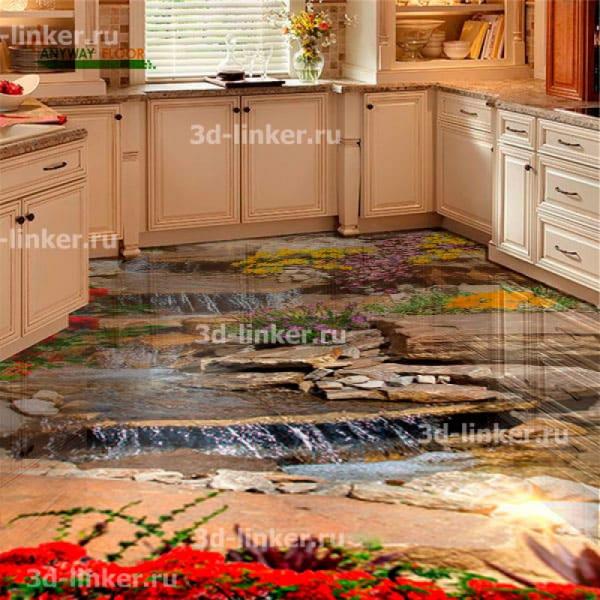 Напольное покрытие с рисунком Обои, Линолеум ВОДОПАД КАСКАД ПО КАМНЯМ ЦВЕТЫ в интерьере кухни