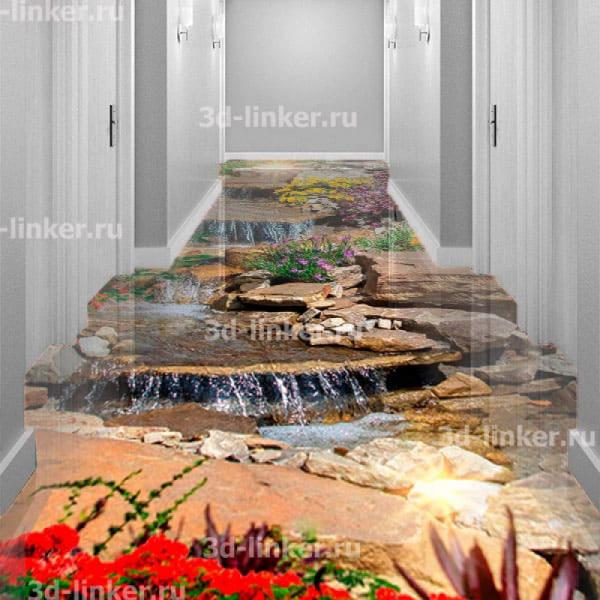 Напольное покрытие с рисунком Обои, Линолеум ВОДОПАД КАСКАД ПО КАМНЯМ ЦВЕТЫ в интерьере коридора